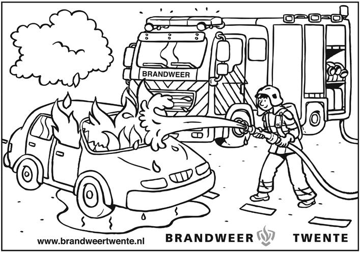 Kleurplaten Beroepen Brandweer Kleurplaat Brandweerauto Archidev